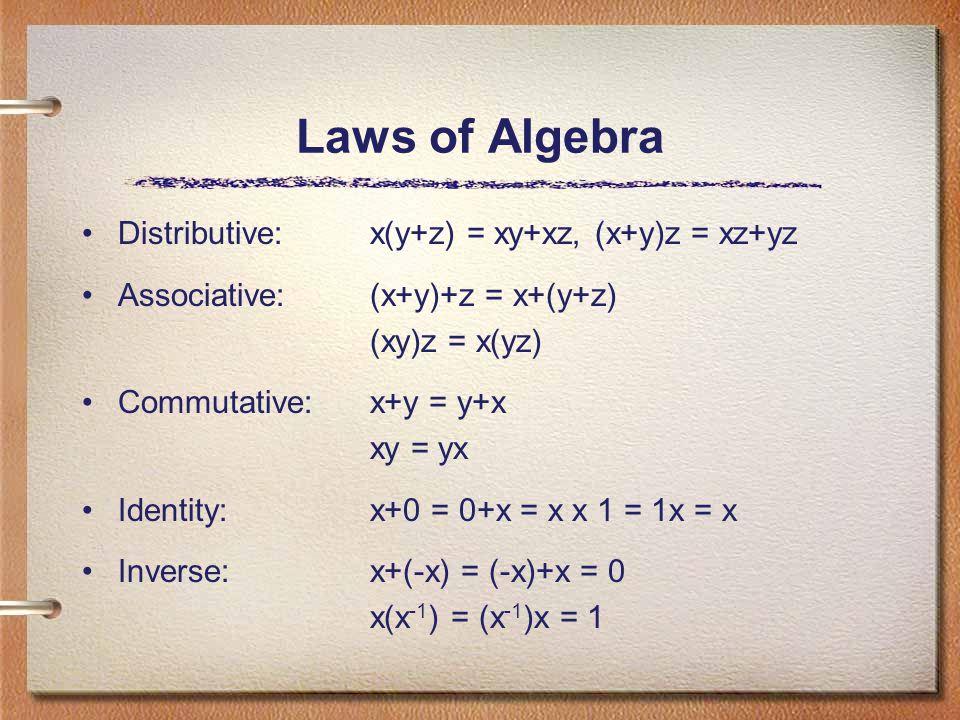 Laws of Algebra Distributive: x(y+z) = xy+xz, (x+y)z = xz+yz Associative: (x+y)+z = x+(y+z) (xy)z = x(yz) Commutative: x+y = y+x xy = yx Identity: x+0 = 0+x = x x 1 = 1x = x Inverse: x+(-x) = (-x)+x = 0 x(x -1 ) = (x -1 )x = 1