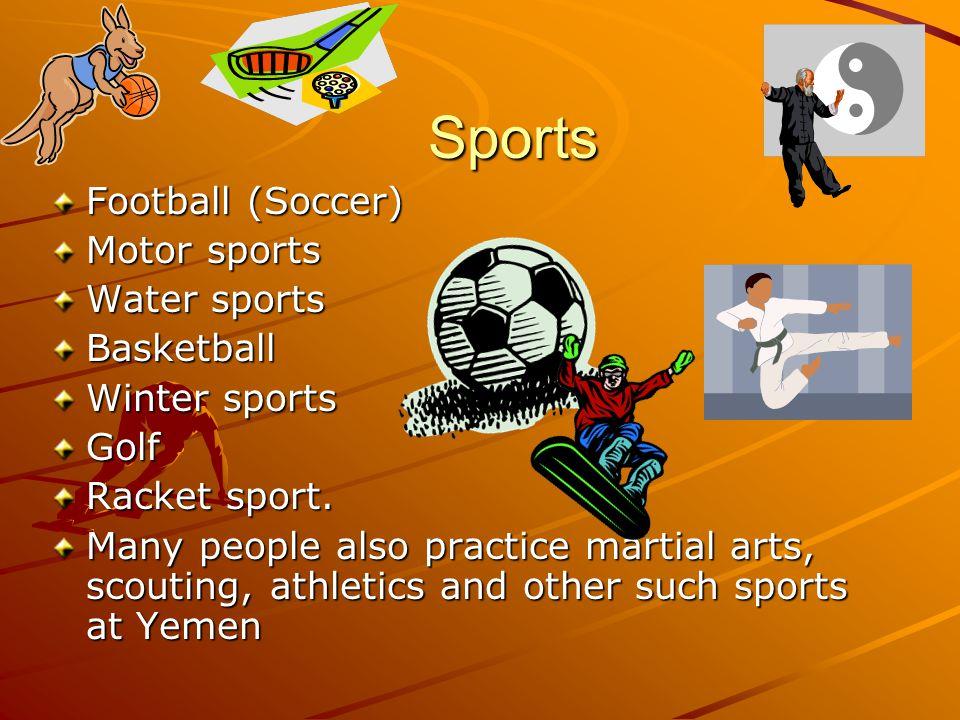 Sports Sports Football (Soccer) Motor sports Water sports Basketball Winter sports Golf Racket sport.