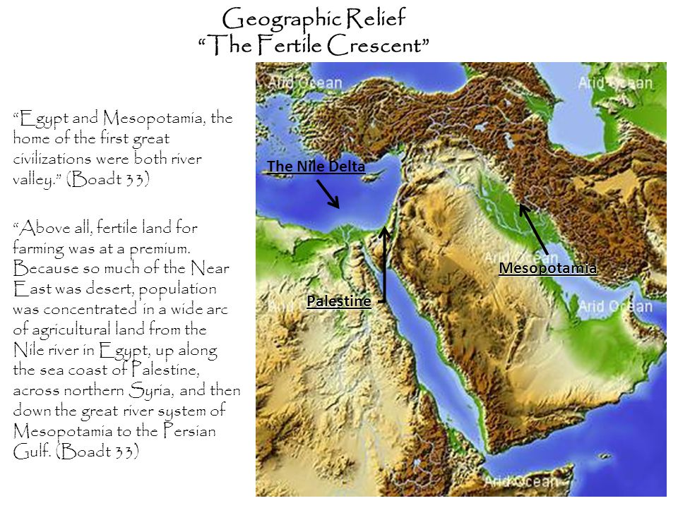 "Geographic Relief ""The Fertile Crescent"" ""Egypt and Mesopotamia, the home of the first great civilizations were both river valley."" (Boadt 33) ""Above"