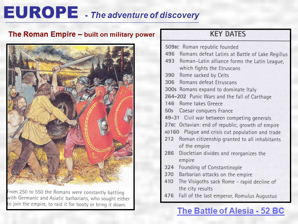 EUROPE - The adventure of discovery The Roman Empire – built on military power The Battle of Alesia - 52 BC