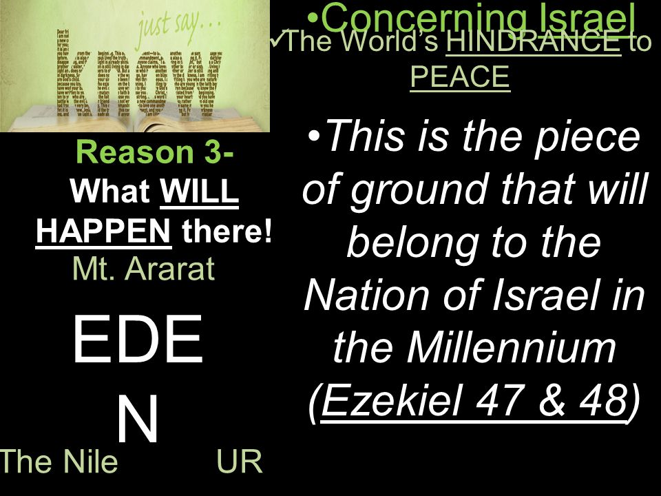 Concerning IsraelConcerning Israel The World's HINDRANCE to PEACE The World's HINDRANCE to PEACE Reason 3- What WILL HAPPEN there.