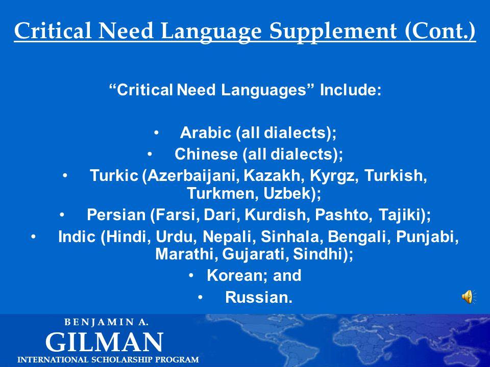 Critical Need Language Supplement INTERNATIONAL SCHOLARSHIP PROGRAM GILMAN B E N J A M I N A.