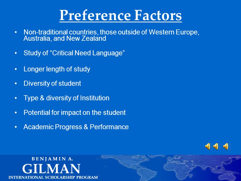 Critical Need Language Supplement (Cont.) INTERNATIONAL SCHOLARSHIP PROGRAM GILMAN B E N J A M I N A.