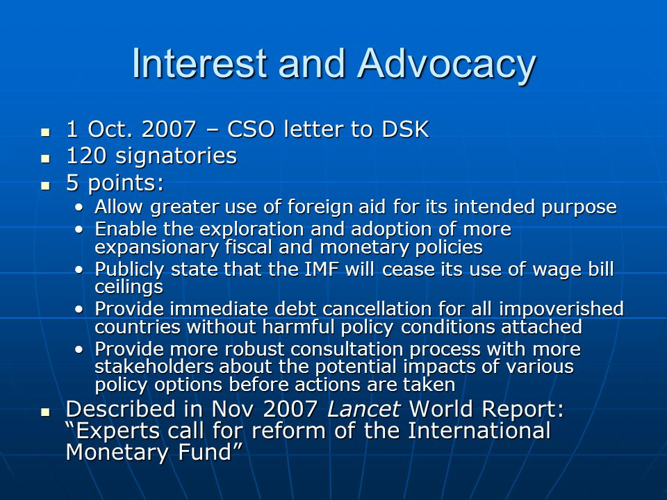 Interest and Advocacy 1 Oct. 2007 – CSO letter to DSK 1 Oct.