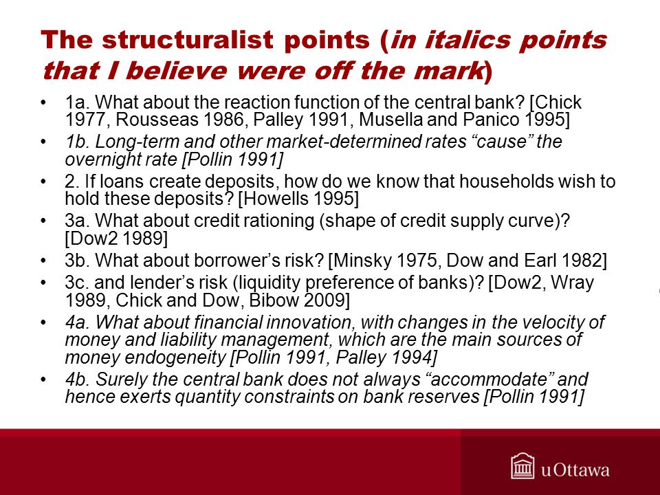 The structuralist points (in italics points that I believe were off the mark) 1a.