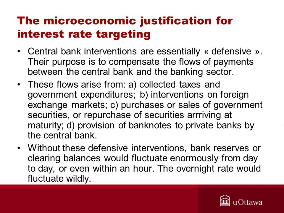 The microeconomic justification for interest rate targeting Central bank interventions are essentially « defensive ».