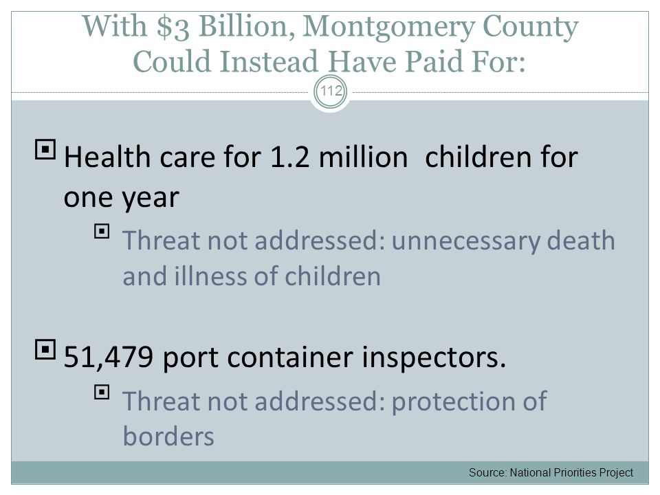 With $3 Billion, Montgomery County Could Instead Have Paid For:  Health care for 1.2 million children for one year  Threat not addressed: unnecessary death and illness of children  51,479 port container inspectors.