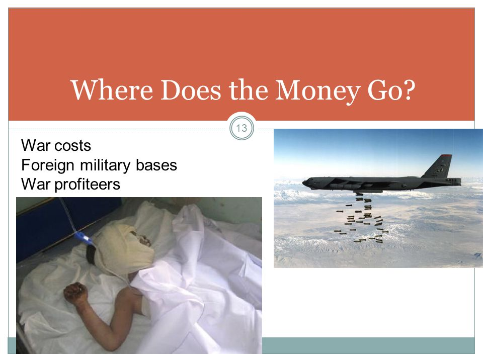 Where Does the Money Go? War costs Foreign military bases War profiteers 13