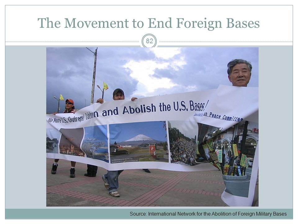 The Movement to End Foreign Bases 82 Source: International Network for the Abolition of Foreign Military Bases