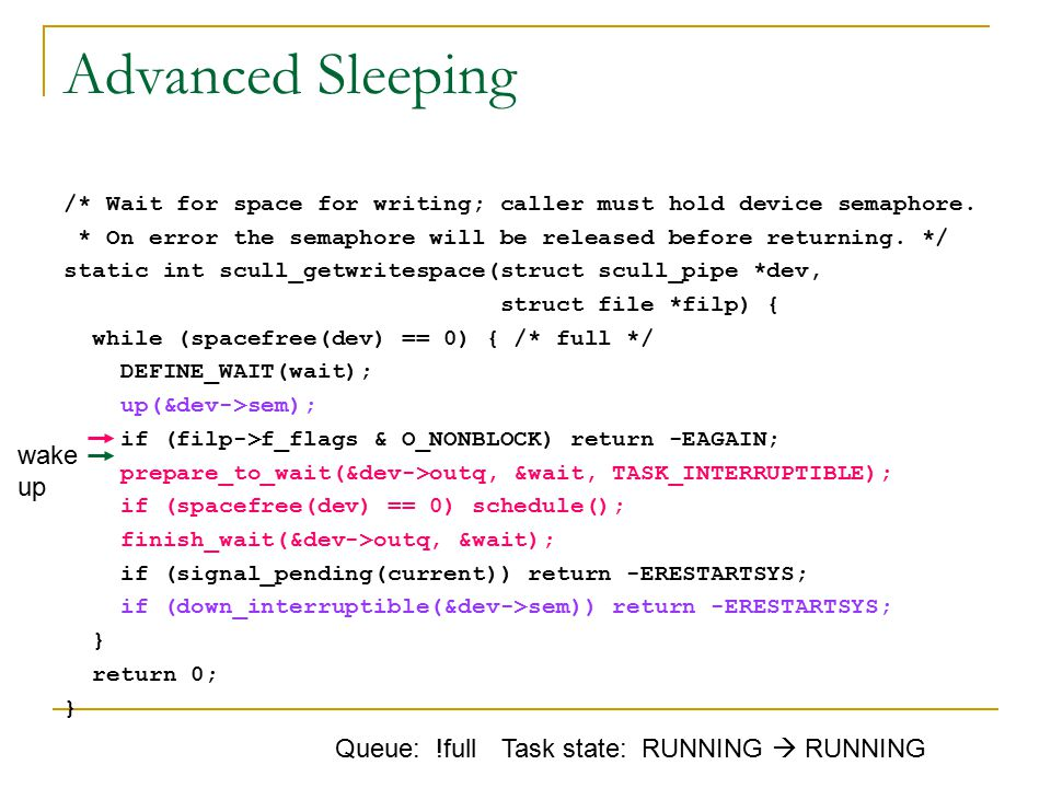 Advanced Sleeping /* Wait for space for writing; caller must hold device semaphore.