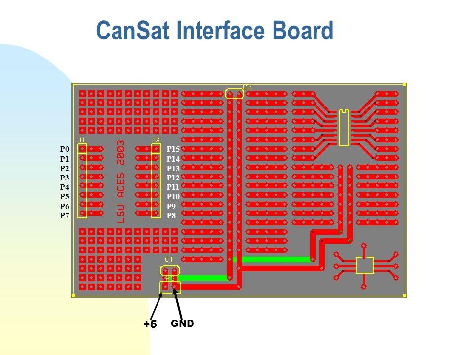 CanSat Interface Board +5 GND P0 P1 P2 P3 P4 P5 P6 P7 P15 P14 P13 P12 P11 P10 P9 P8