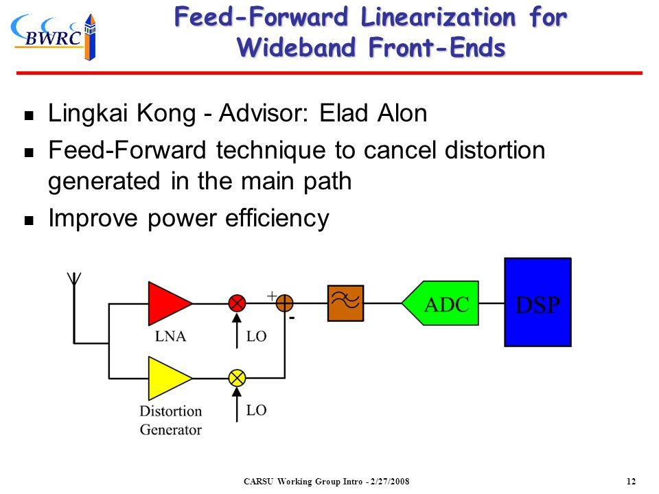 Feed-Forward Linearization for Wideband Front-Ends Lingkai Kong - Advisor: Elad Alon Feed-Forward technique to cancel distortion generated in the main path Improve power efficiency CARSU Working Group Intro - 2/27/200812
