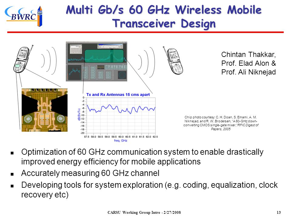 Multi Gb/s 60 GHz Wireless Mobile Transceiver Design Optimization of 60 GHz communication system to enable drastically improved energy efficiency for mobile applications Accurately measuring 60 GHz channel Developing tools for system exploration (e.g.