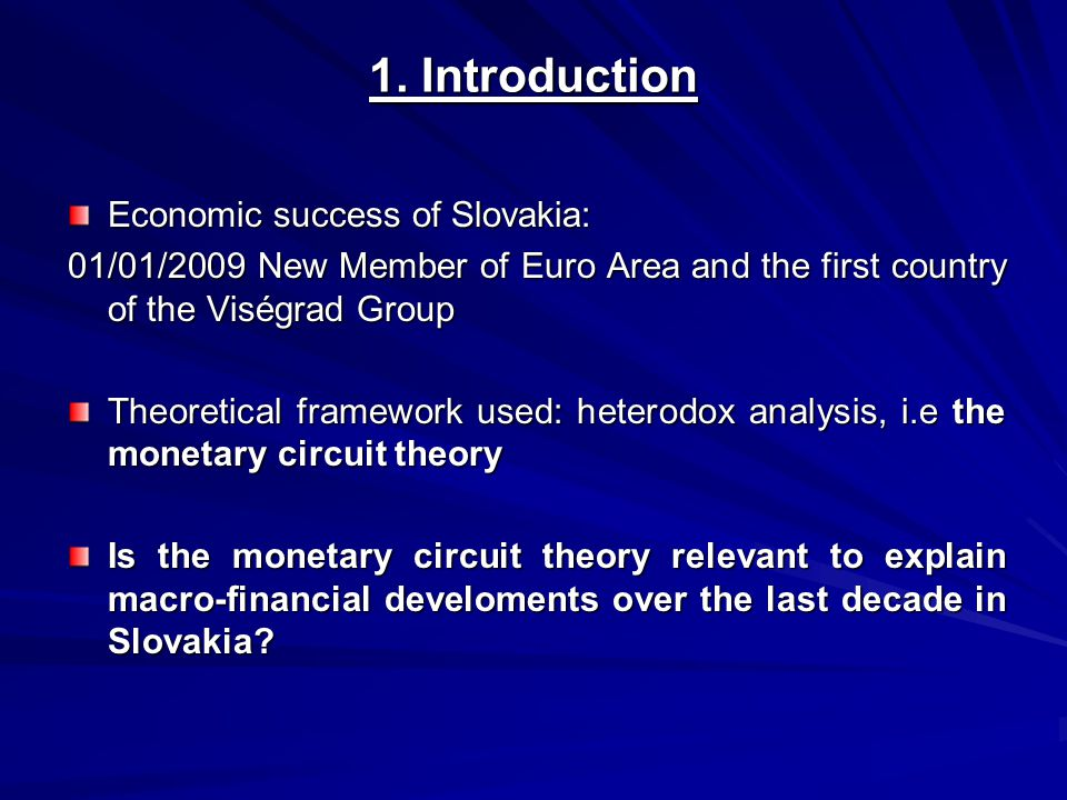 We focus on two elements of the monetary circuit theory: - The Keynes-Kalecki identity - The nature endogenous of money Organization of the paper: 1.