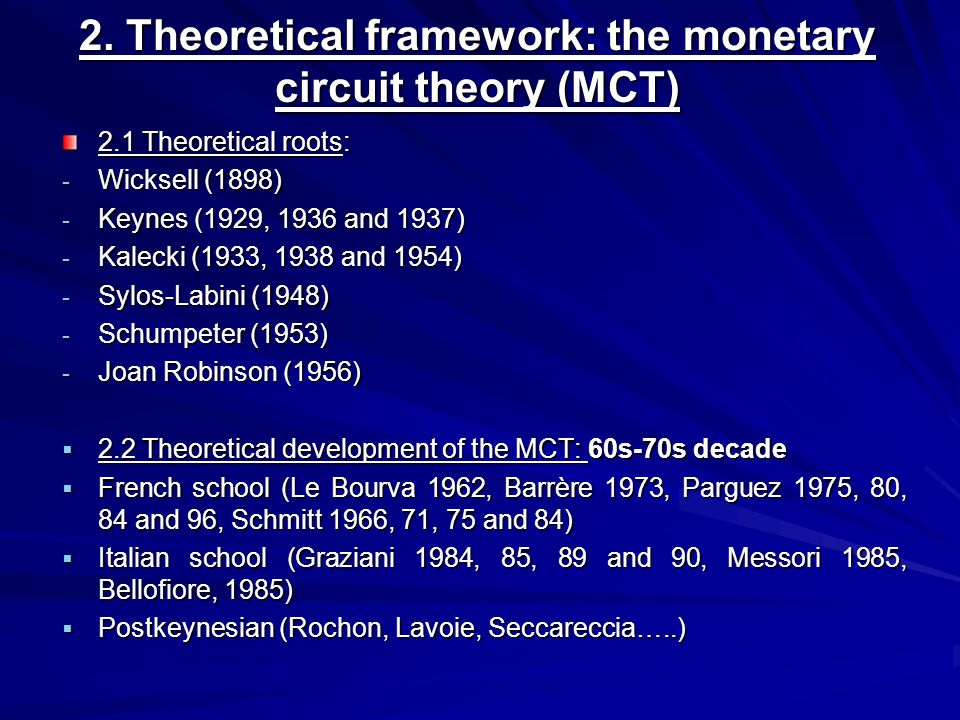 2.3 Characteristics of the MCT Monetary theory of production: credit, money and production theory Profit and repartition theory Sequential dynamic approach (sequential historical time, Robinson, 1980); Uncertainty (Davidson) Hierarchical relationship between the six economic agents (firms, commercial banks, central bank, households, government and rest of the world) We focus on two MCT pillars among others: - nature endogenous of money (2.3.1) - the Keynes-Kalecki identity (2.3.2)