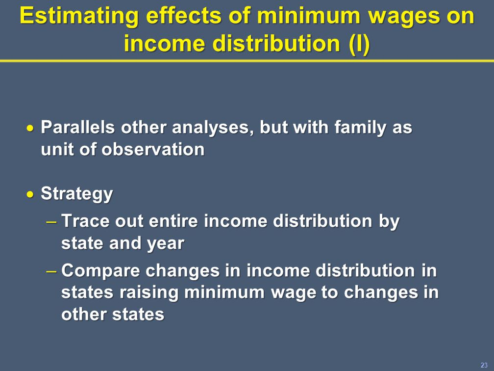 23 Estimating effects of minimum wages on income distribution (I)  Parallels other analyses, but with family as unit of observation  Strategy –Trace out entire income distribution by state and year –Compare changes in income distribution in states raising minimum wage to changes in other states