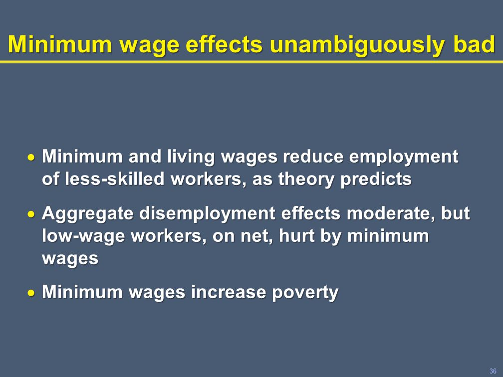 36 Minimum wage effects unambiguously bad  Minimum and living wages reduce employment of less-skilled workers, as theory predicts  Aggregate disemployment effects moderate, but low-wage workers, on net, hurt by minimum wages  Minimum wages increase poverty