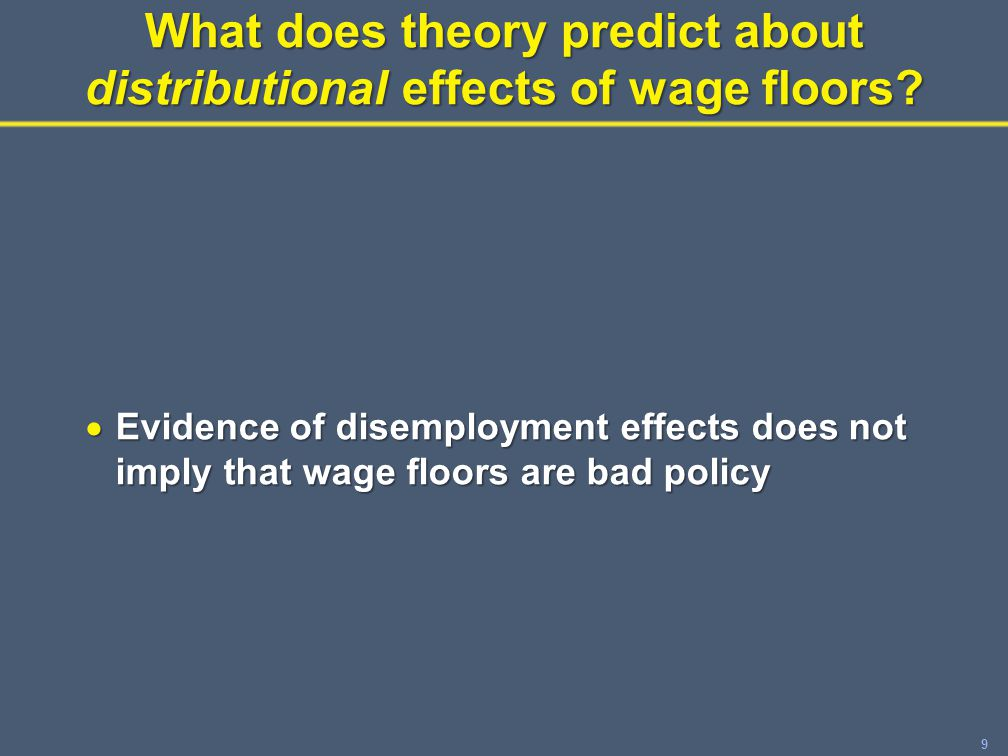 30Outline  Mandated wage floors and poverty reduction  Employment effects  Effects on low-wage workers: winners / losers  Effects on poor and low-income families  The EITC and the minimum wage  Summary and conclusions