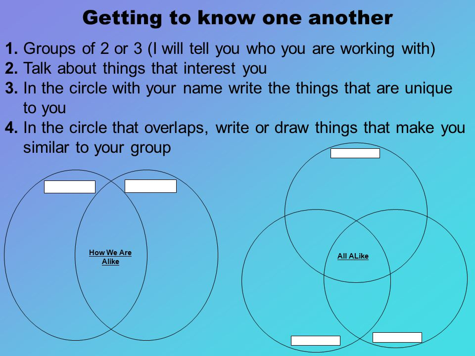 Getting to know one another 1. Groups of 2 or 3 (I will tell you who you are working with) 2.