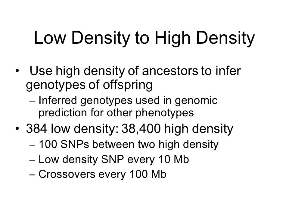 Low Density to High Density Use high density of ancestors to infer genotypes of offspring –Inferred genotypes used in genomic prediction for other phe