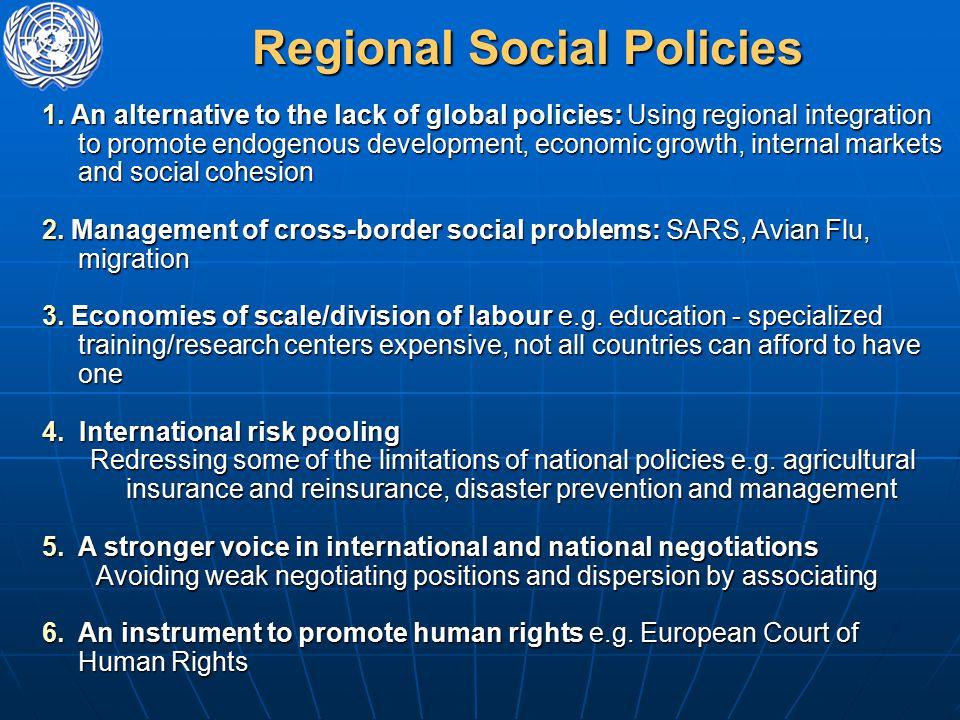 Regional Social Policies 1.