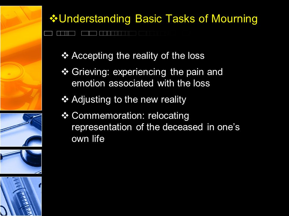  Understanding Basic Tasks of Mourning  Accepting the reality of the loss  Grieving: experiencing the pain and emotion associated with the loss  A