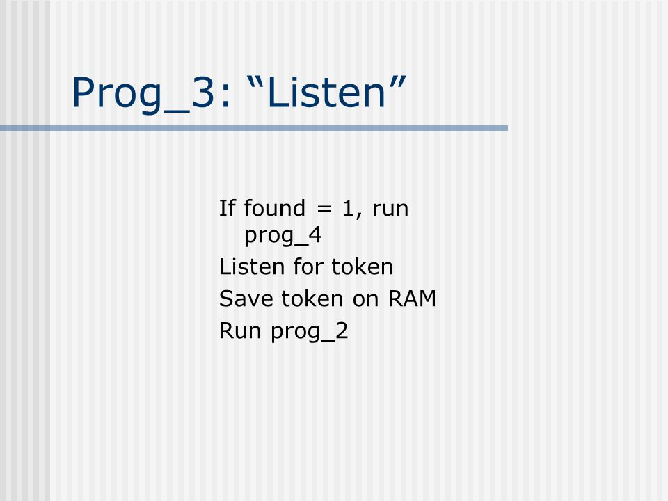 Prog_3: Listen If found = 1, run prog_4 Listen for token Save token on RAM Run prog_2