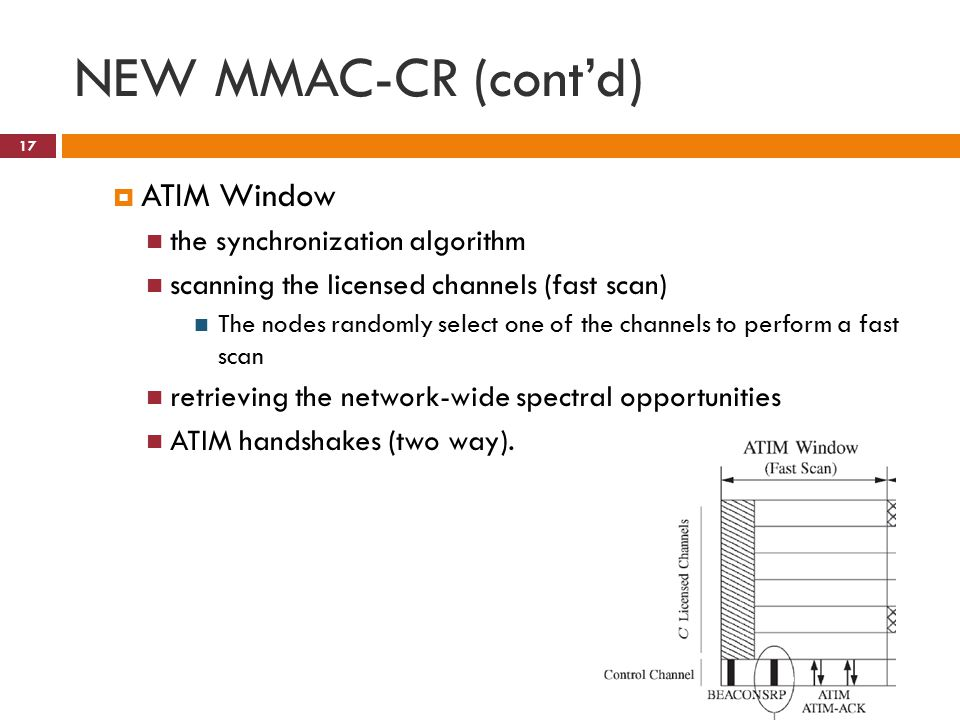 NEW MMAC-CR (cont'd) 17  ATIM Window the synchronization algorithm scanning the licensed channels (fast scan) The nodes randomly select one of the channels to perform a fast scan retrieving the network-wide spectral opportunities ATIM handshakes (two way).
