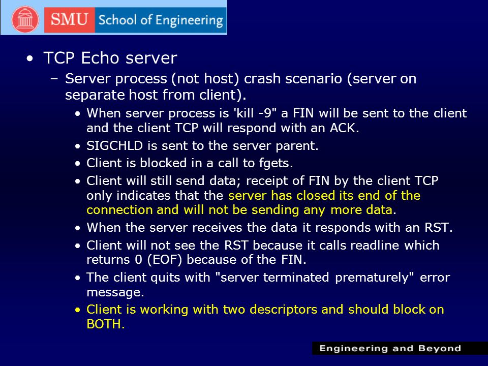 TCP Echo server –Server process (not host) crash scenario (server on separate host from client).