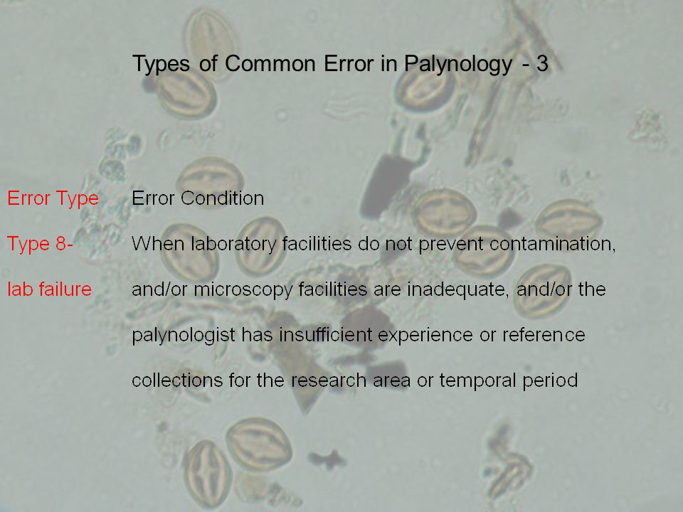 Types of Common Error in Palynology - 3