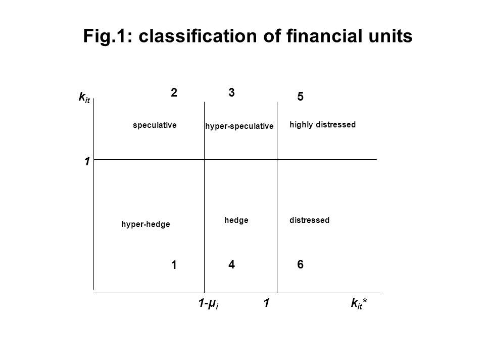 k it k it *1 1 1-μ i 23 4 1 5 6 hyper-hedge hedge speculative hyper-speculative highly distressed distressed Fig.1: classification of financial units