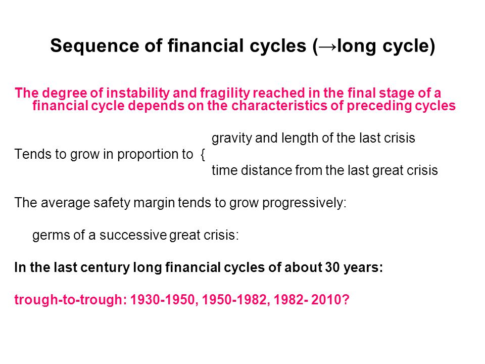 Sequence of financial cycles (→long cycle) The degree of instability and fragility reached in the final stage of a financial cycle depends on the characteristics of preceding cycles gravity and length of the last crisis Tends to grow in proportion to { time distance from the last great crisis The average safety margin tends to grow progressively: germs of a successive great crisis: In the last century long financial cycles of about 30 years: trough-to-trough: 1930-1950, 1950-1982, 1982- 2010