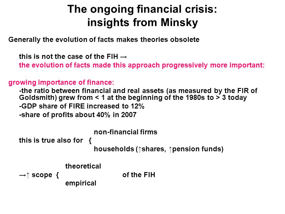 The ongoing financial crisis: insights from Minsky Generally the evolution of facts makes theories obsolete this is not the case of the FIH → the evolution of facts made this approach progressively more important: growing importance of finance: -the ratio between financial and real assets (as measured by the FIR of Goldsmith) grew from 3 today -GDP share of FIRE increased to 12% -share of profits about 40% in 2007 non-financial firms this is true also for { households (↑shares, ↑pension funds) theoretical →↑ scope {of the FIH empirical