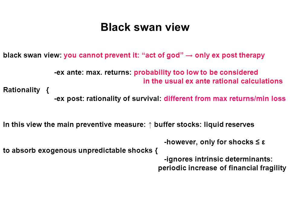 Black swan view black swan view: you cannot prevent it: act of god → only ex post therapy -ex ante: max.