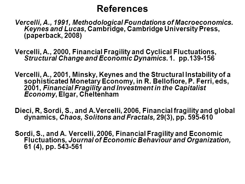 References Vercelli, A., 1991, Methodological Foundations of Macroeconomics.