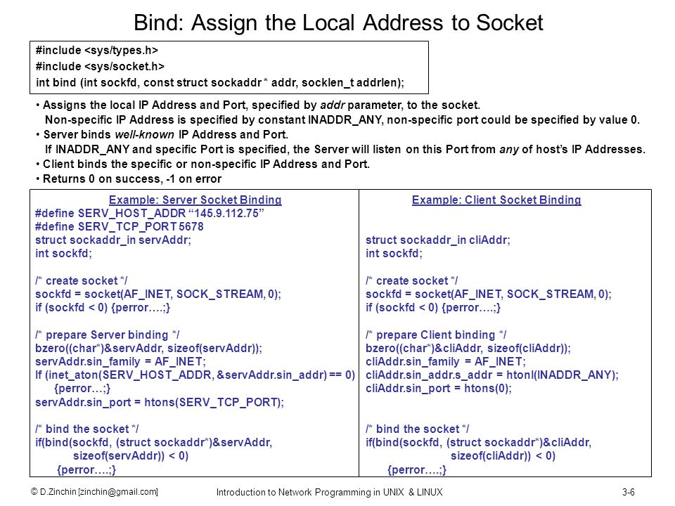 © D.Zinchin [zinchin@gmail.com] Introduction to Network Programming in UNIX & LINUX3-7 Connect: Assign the Foreign Address to Socket #include int connect(int sockfd, const struct sockaddr *addr, socklen_t addrlen); Used to specify foreign Address.