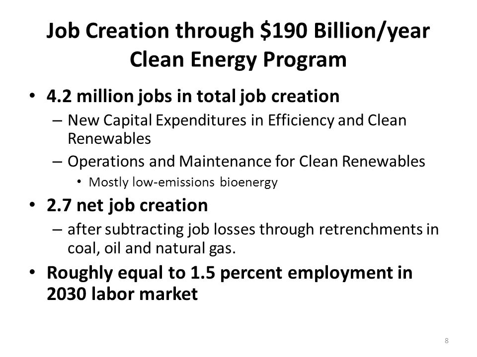 Job Creation through $190 Billion/year Clean Energy Program 4.2 million jobs in total job creation – New Capital Expenditures in Efficiency and Clean Renewables – Operations and Maintenance for Clean Renewables Mostly low-emissions bioenergy 2.7 net job creation – after subtracting job losses through retrenchments in coal, oil and natural gas.