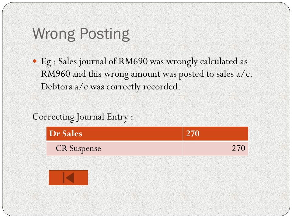 Wrong Posting Eg : Sales journal of RM690 was wrongly calculated as RM960 and this wrong amount was posted to sales a/c.