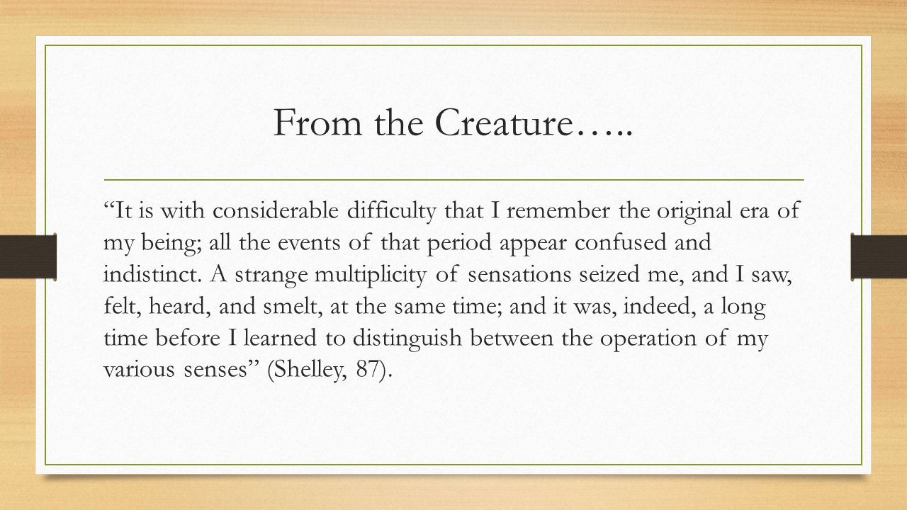 From the Creature…..