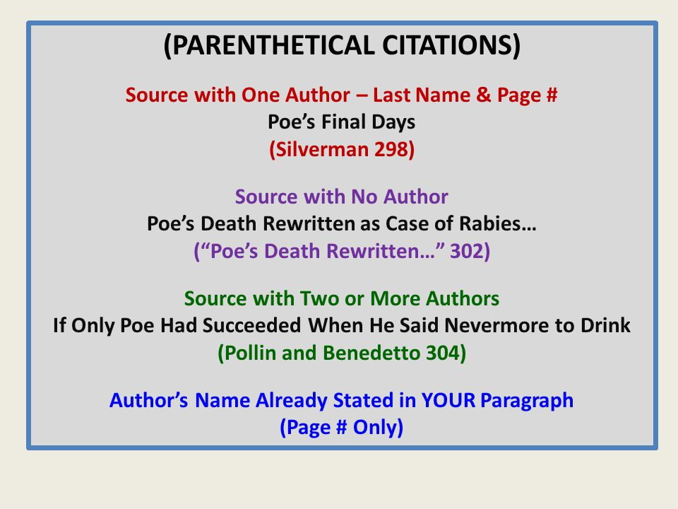 (PARENTHETICAL CITATIONS) Source with One Author – Last Name & Page # Poe's Final Days (Silverman 298) Source with No Author Poe's Death Rewritten as