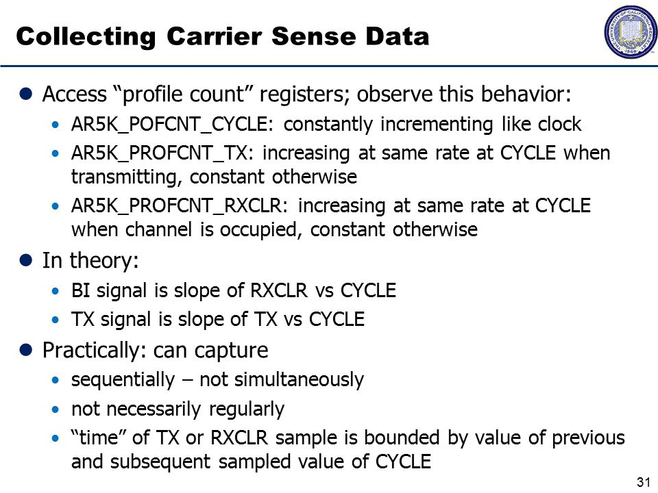 Collecting Carrier Sense Data Access profile count registers; observe this behavior: AR5K_POFCNT_CYCLE: constantly incrementing like clock AR5K_PROFCNT_TX: increasing at same rate at CYCLE when transmitting, constant otherwise AR5K_PROFCNT_RXCLR: increasing at same rate at CYCLE when channel is occupied, constant otherwise In theory: BI signal is slope of RXCLR vs CYCLE TX signal is slope of TX vs CYCLE Practically: can capture sequentially – not simultaneously not necessarily regularly time of TX or RXCLR sample is bounded by value of previous and subsequent sampled value of CYCLE 31