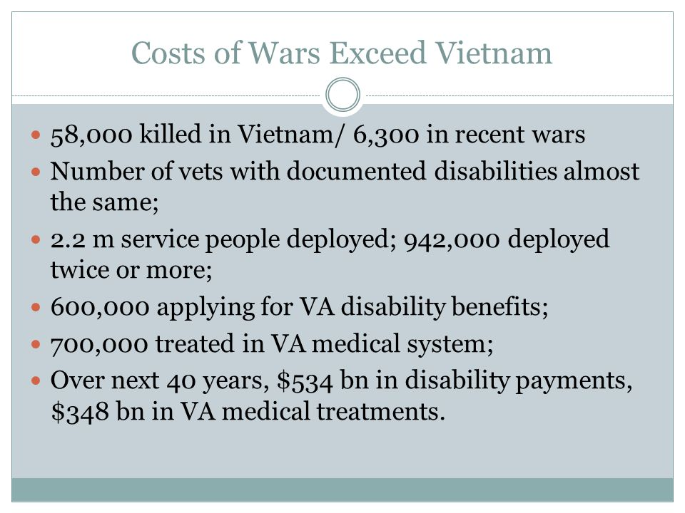 Costs of Wars Exceed Vietnam 58,000 killed in Vietnam/ 6,300 in recent wars Number of vets with documented disabilities almost the same; 2.2 m service people deployed; 942,000 deployed twice or more; 600,000 applying for VA disability benefits; 700,000 treated in VA medical system; Over next 40 years, $534 bn in disability payments, $348 bn in VA medical treatments.