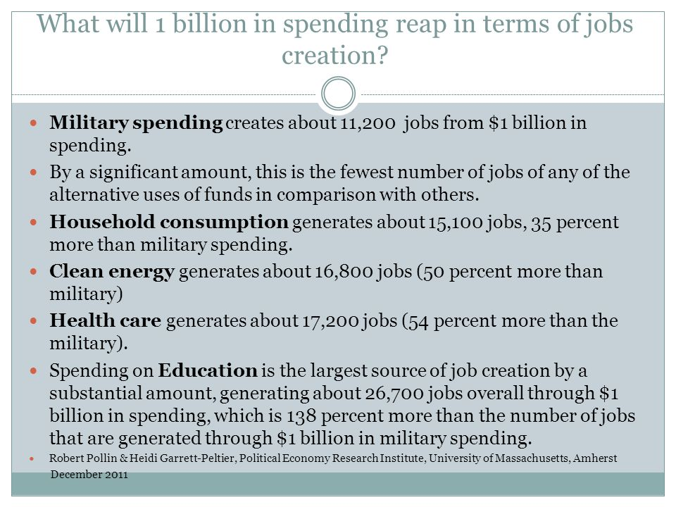 What will 1 billion in spending reap in terms of jobs creation? Military spending creates about 11,200 jobs from $1 billion in spending. By a signific