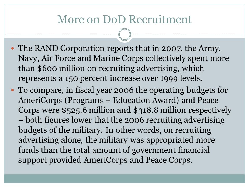 More on DoD Recruitment The RAND Corporation reports that in 2007, the Army, Navy, Air Force and Marine Corps collectively spent more than $600 million on recruiting advertising, which represents a 150 percent increase over 1999 levels.