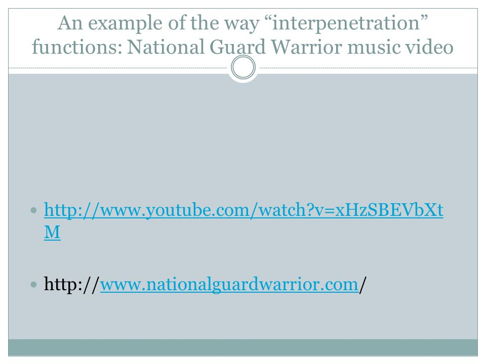 "An example of the way ""interpenetration"" functions: National Guard Warrior music video http://www.youtube.com/watch?v=xHzSBEVbXt M http://www.youtube."