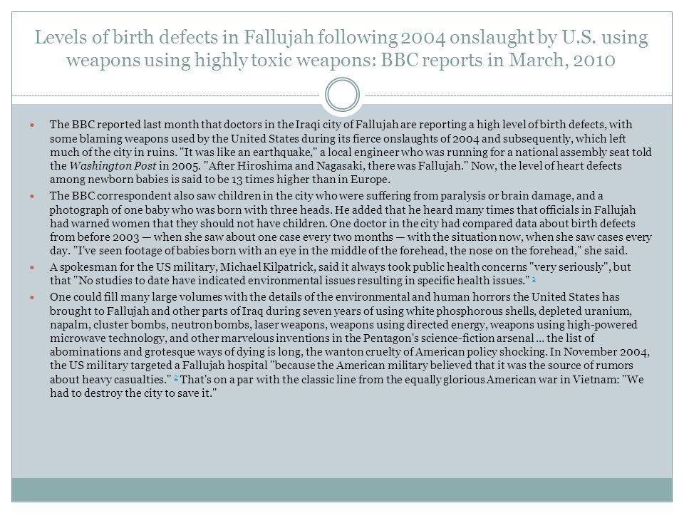Levels of birth defects in Fallujah following 2004 onslaught by U.S.