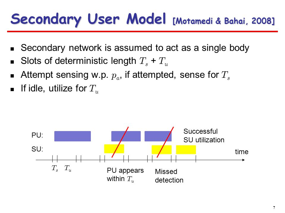 Interference probability: Utilization: Secondary user optimization: At equilibrium:  Secondary User Model [Motamedi & Bahai, 2008] 8 Probability of detection of the primaries False alarm probability