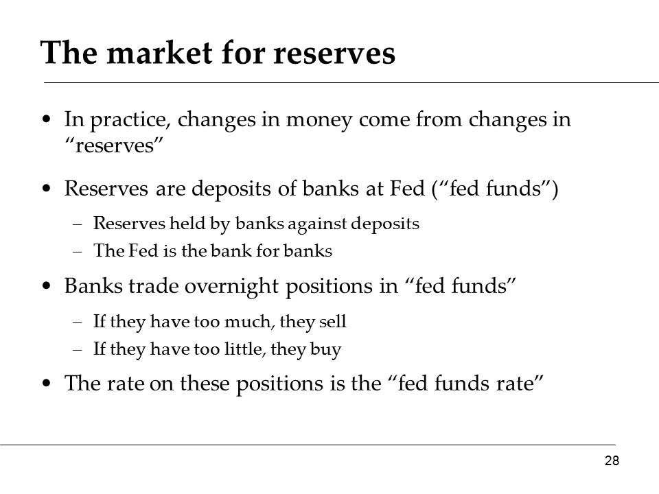 The market for reserves In practice, changes in money come from changes in reserves Reserves are deposits of banks at Fed ( fed funds ) –Reserves held by banks against deposits –The Fed is the bank for banks Banks trade overnight positions in fed funds –If they have too much, they sell –If they have too little, they buy The rate on these positions is the fed funds rate 28