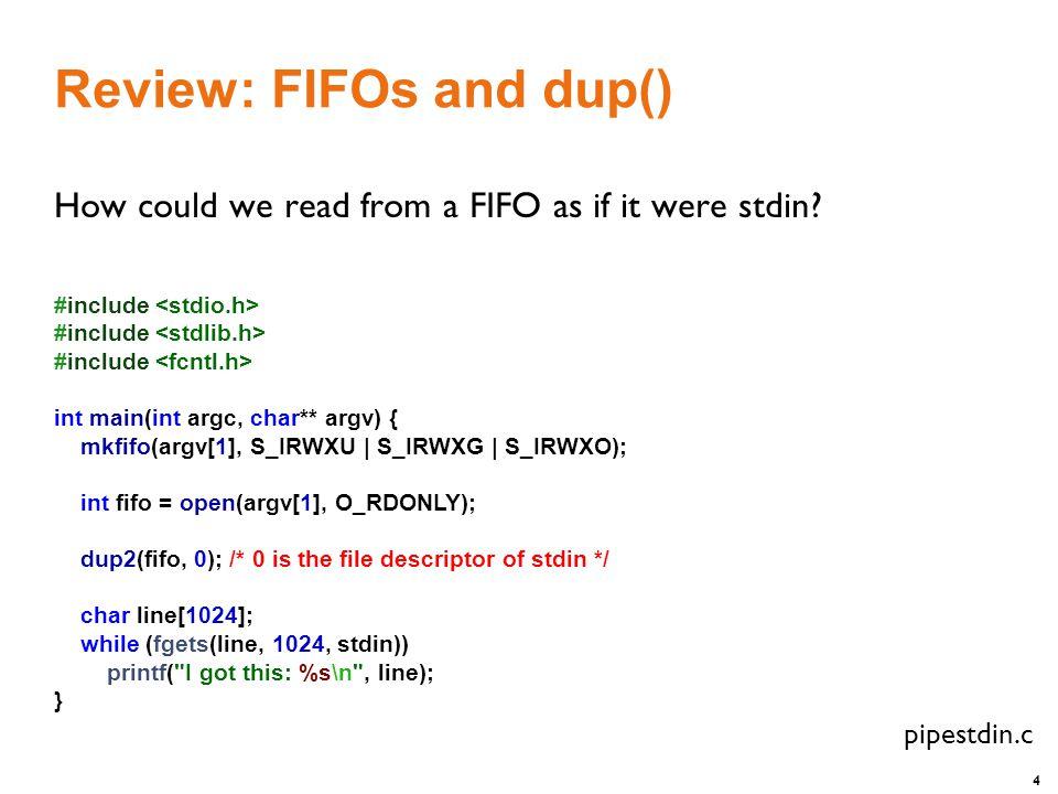 15 Poll: Example struct pollfd my_pfds[1]; my_pfds[0].fd = 0; my_pfds[0].events = POLLIN; if (poll(&my_pfds, 1, INFTIM) == 1) { ASSERT (my_pfds[0].revents & POLLIN); /* data ready on stdin */