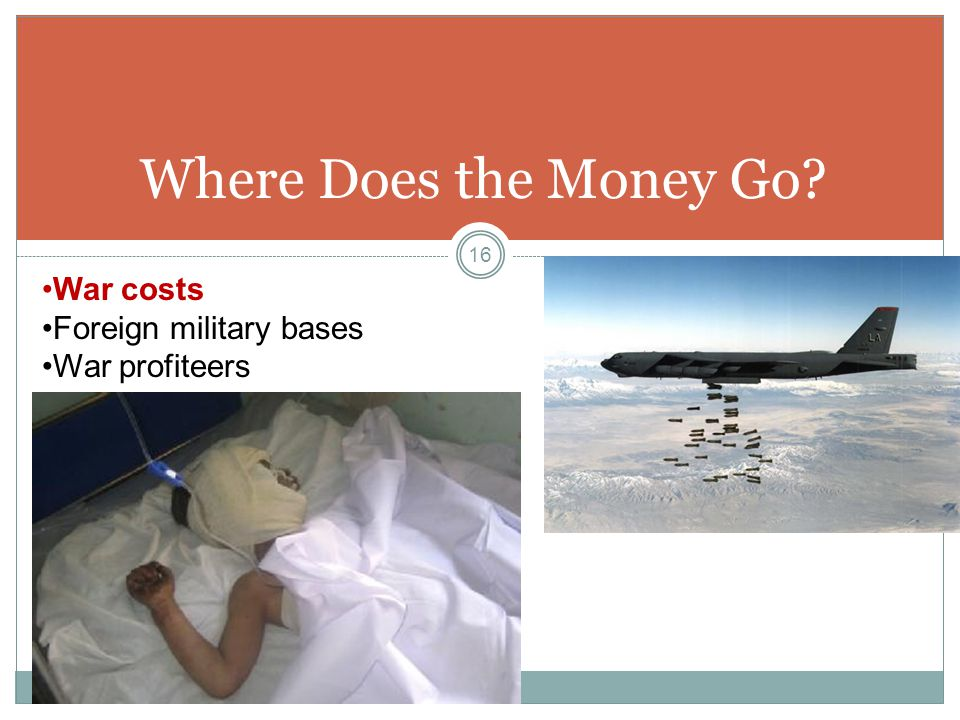 Where Does the Money Go War costs Foreign military bases War profiteers 16